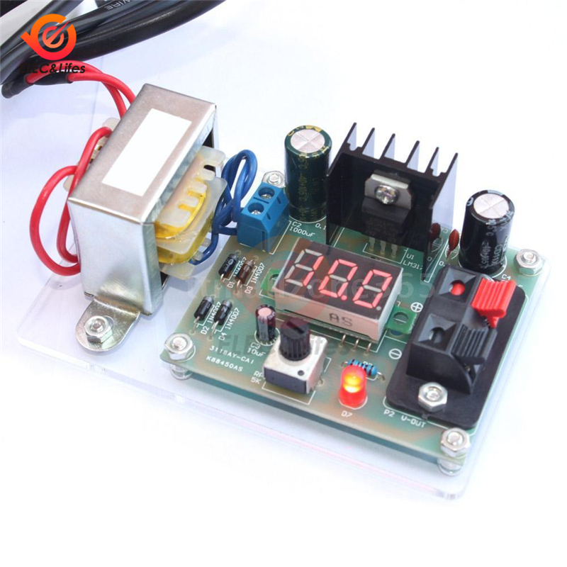 LM317 Adjustable DC Voltage Regulator AC <font><b>220V</b></font> 110V to <font><b>12V</b></font> Step Down <font><b>Power</b></font> <font><b>Supply</b></font> Transformer <font><b>module</b></font> Diy kit Volt Converter board image