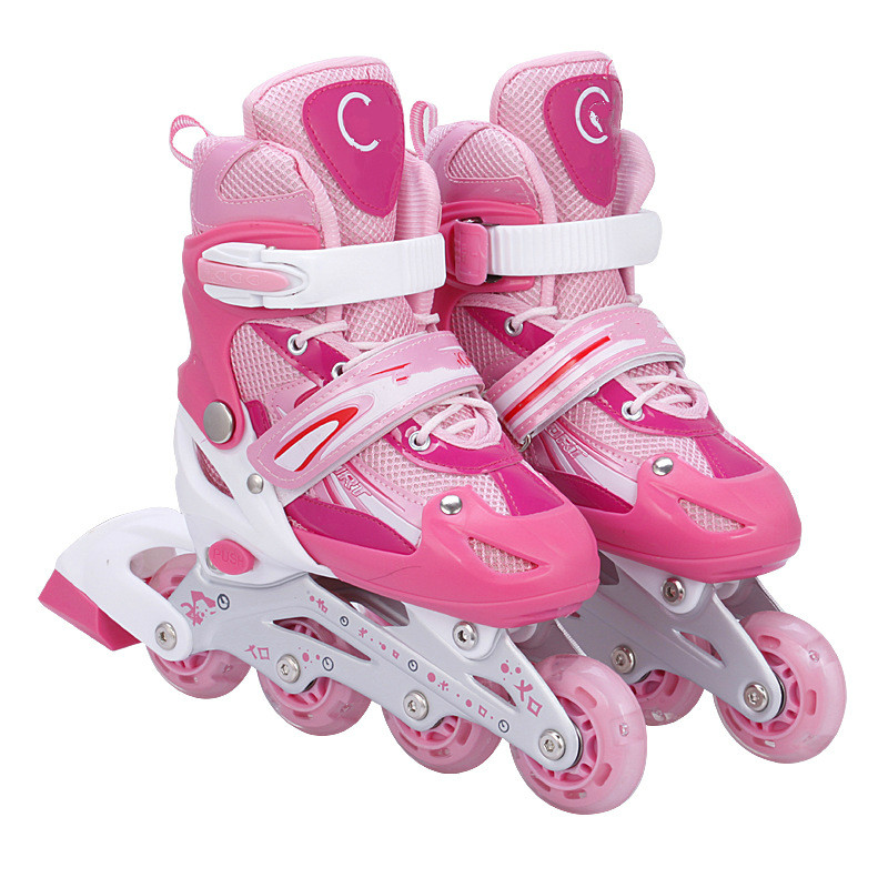 Fashionable Male and Female Skates, Adult Adjustable Inline Roller Skates, Breathable Non-slip Soft Roller Skates PU Material