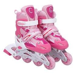 Patines masculinos y femeninos a la moda, patines en línea ajustables para adultos, patines de ruedas suaves antideslizantes transpirables, Material PU