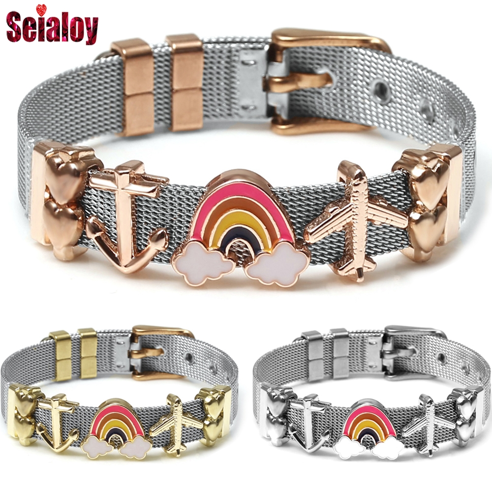 Rose Gold Stainless Steel Mesh Wristband Bracelets For Women Men Sky Rainbow Airplane Anchor Charm Brands Watch Belt Bracelets image