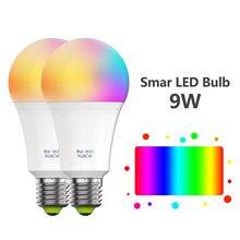 Yhw lâmpada inteligente wifi lâmpadas led funciona com alexa, casa do google, multicolorido rgbcw led 80w equivalente e26 e27 bulbo para a sala