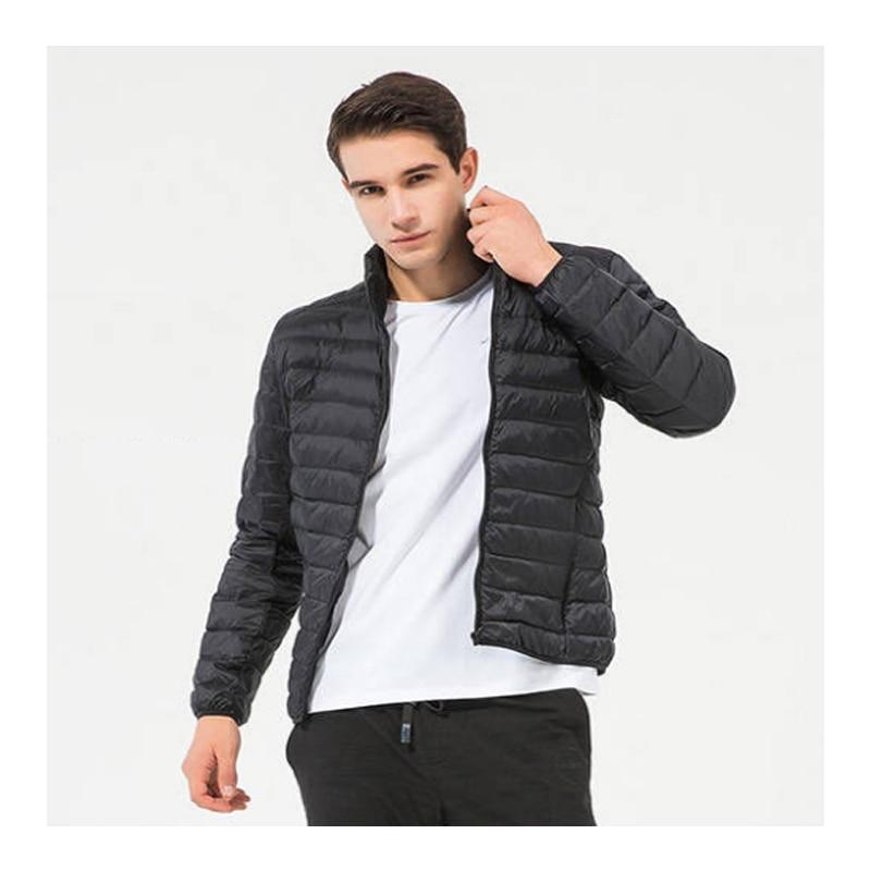 MAZEROUT Plus Size Winter Men Ultralight Down Black Duck Down Hooded Jackets Long Sleeve Warm Coat Parka Male Portable M-4XL