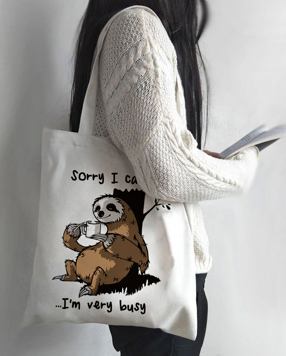 Women Cartoon Sloth Print Shopping Bag Tote Eco Handbag Tumblr Graphic Students College Style Simple Casual Shoulder Bags