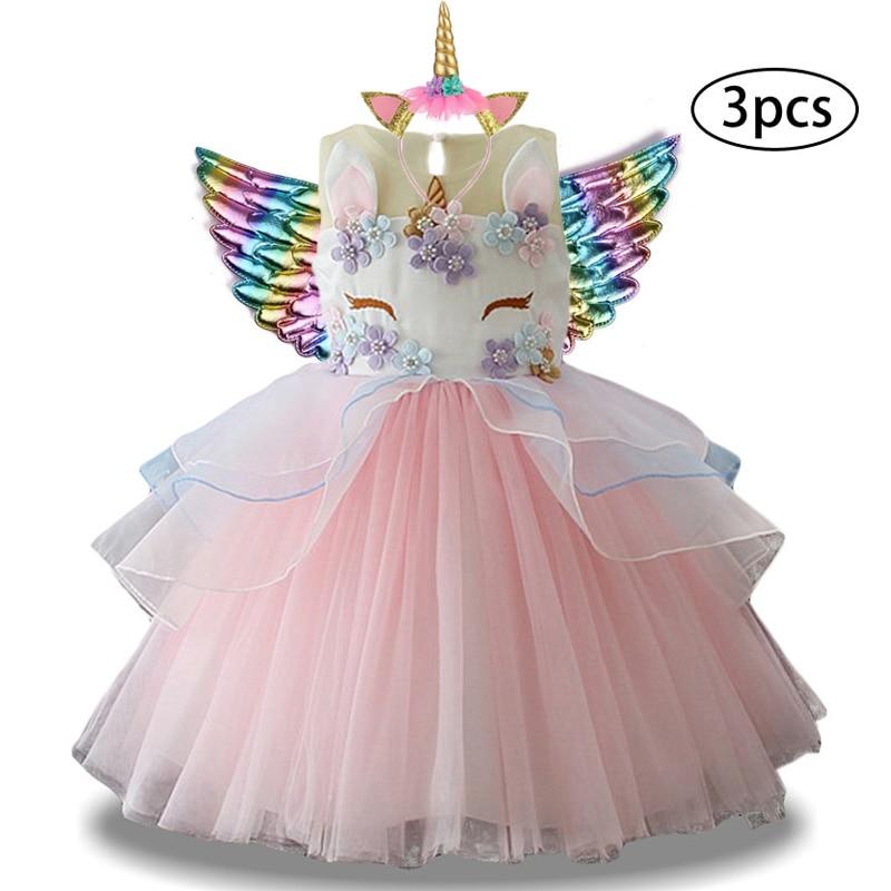 Haa7aa0e63dfd44a4acfaaf9603d54fbcc New Girls Dress 3Pcs Kids Dresses For Girl Unicorn Party Dress Christmas Carnival Costume Child Princess Dress 3 5 6 8 9 10 Year