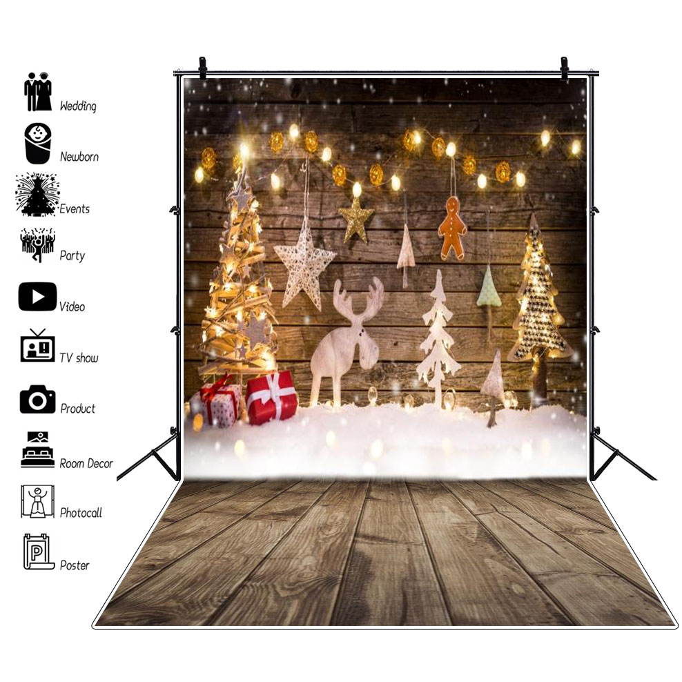 Laeacco Photo Christmas Snow Tree Reindeer Star Light Wooden Board Photographic Backgrounds Backdrops Photocall Studio