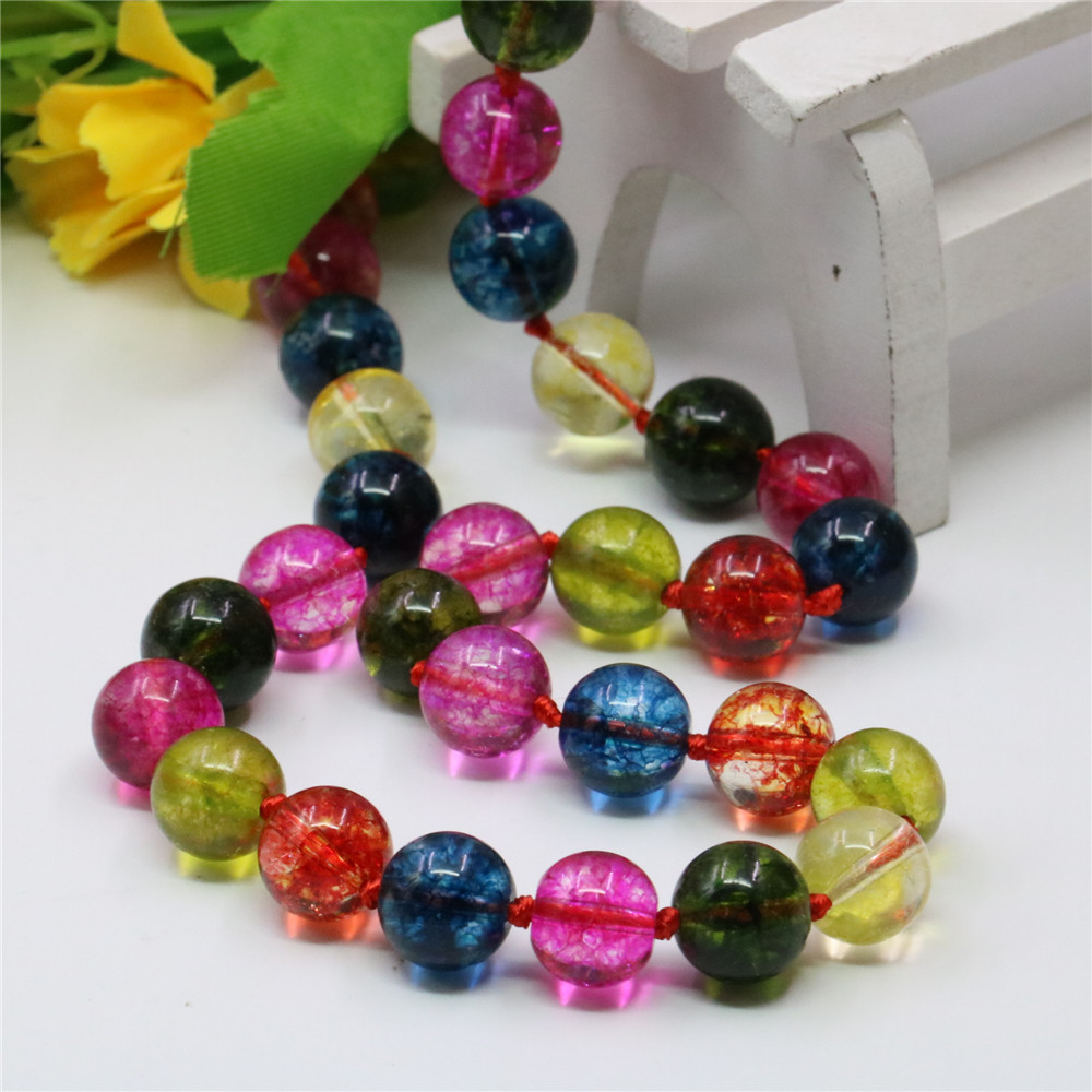 Sweet Style Rainbow Natural Tourmaline Crystal Round Beads 8/10/12mm Women's Jewelry Power Necklaces Chain Gift 18inch Y758