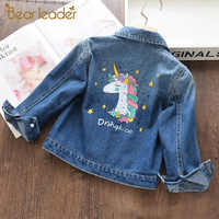 Bear Leader Girls Denim Coats New Brand Autumn Kids Jackets Clothes Cartoon Coat Embroidery Children Clothing for 3 8Y