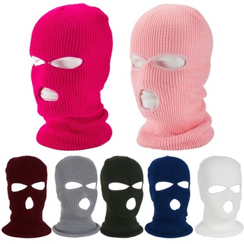 Tactical Mask 3 Hole Full Face Mouth Ski Winter Cap Balaclava Hood Motorbike Motorcycle Helmet image