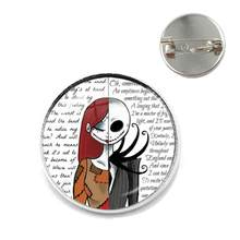 New Jack Skellington And Sally Glass Cabochon Brooches Charms Halloween Party Jewelry Collar Pins Gift For Men Women Kids Badge(China)