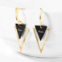 Boucles D'Oreilles Triangle en métal plaqué or Rose pour femmes, en acier inoxydable, pour noël, tendance, 2020