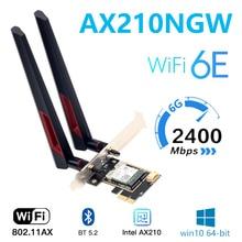 Pcie Wifi Adapter 6e-Card Desktop Bluetooth 5.2 AX210 3000mbps 6-Intel Windows-10 Linux
