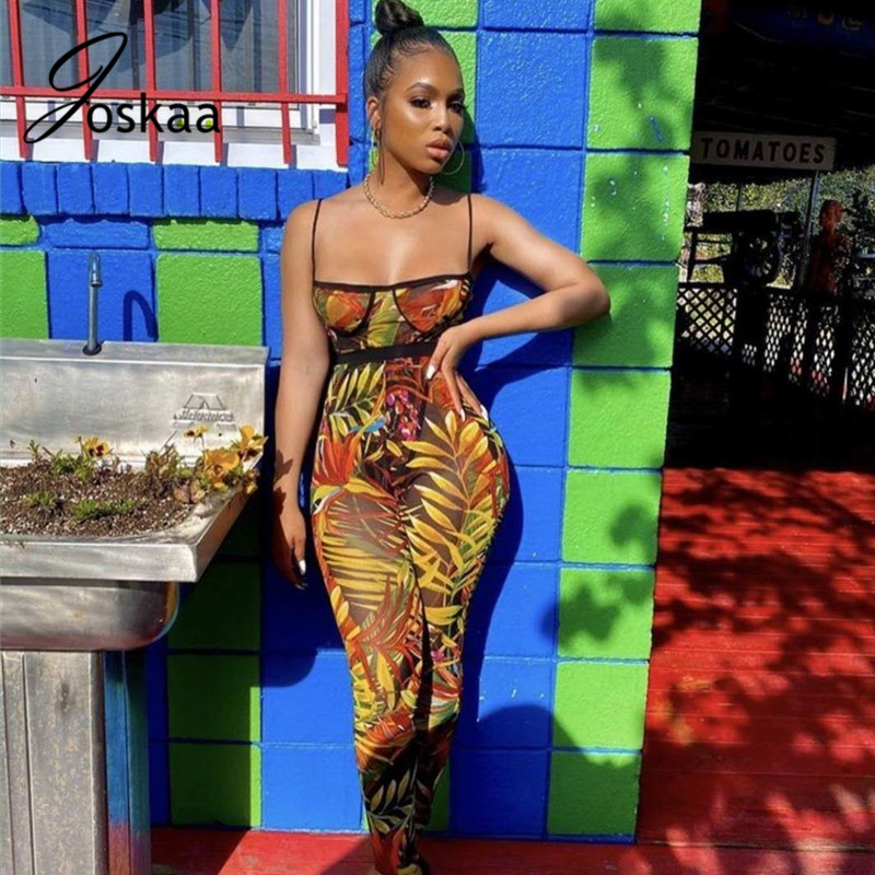Joskaa sheer mesh Sexy sleeveless backless Slim-Fit Strap Strapless Bra Printed Romper nightclub outfits women two-piece set
