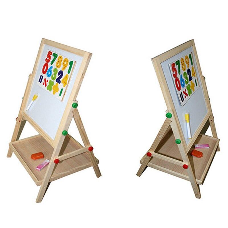 Enfants en bois levage double face magnétique planche à dessin chevalet croquis graffiti peinture cadre puzzle apprentissage tableau noir jouet - 4