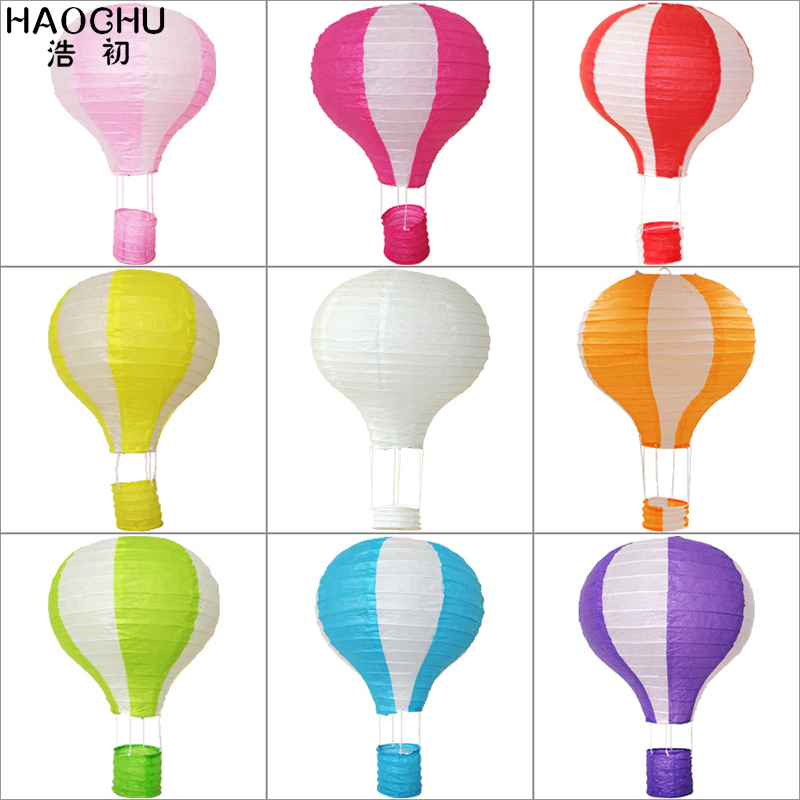 5Pcs/Lot 30/40cm Color Stripe Hot Air Balloon Paper Lantern Chinese Ball Wedding Decor Kid's Birthday Holiday Party Decorations(China)