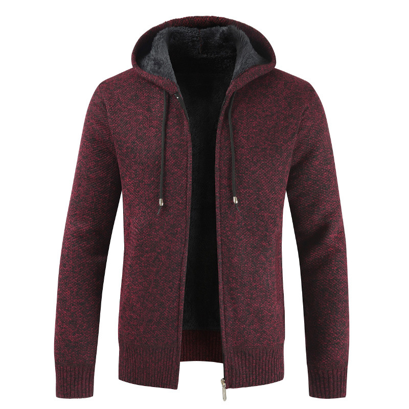 Fashion Sweaters Autumn Male Solid Hats Thick Classic Brand MOOWNUC MOOWNUC Sweaters Casual Cardigans Slim Windproof Homme Men