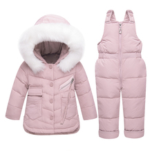 Medium Long Down Jacket Set Children Warm Down Coat Boys Girls Thick  Winter Clothing Kids Snowsuit Toddler New Year Clothing children boys winter jacket kids clothes long hooded warm down jacket 2018 girls coat outwear teenage boys clothing 8 12 14 year