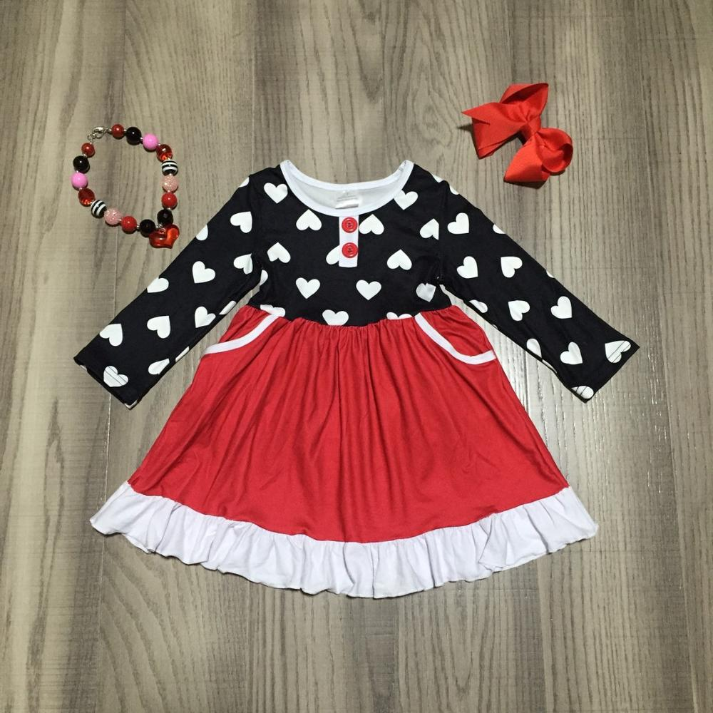 Exclusive Valentines day baby girls children clothes cotton spring ruffles love heart shape dress knee length match accessoriesClothing Sets   -