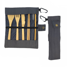 Dinnerware-Set Bamboo Cutlery Set Zero Waste Wooden Utensils Portable Flatware Knife-Fork Travel Toothbrush Cloth Bag Tableware