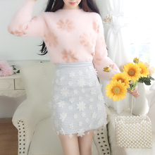 New 2019 Autumn Winter Women Pink Floral Pullover Knitted Sweater Gauze Skirt 2 Pcs Clothing Set Sweet Girl Suits Vestido Mujer