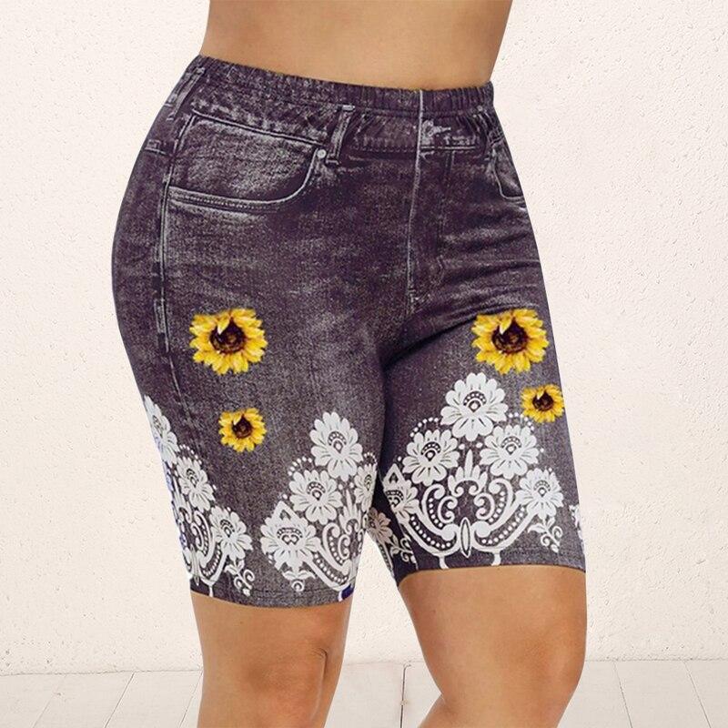 Print Yoga Short Women Jegging Perfect Fit Jeans Leggings High Waist Elastic Capri Legging Pants Summer Breeches False Denim