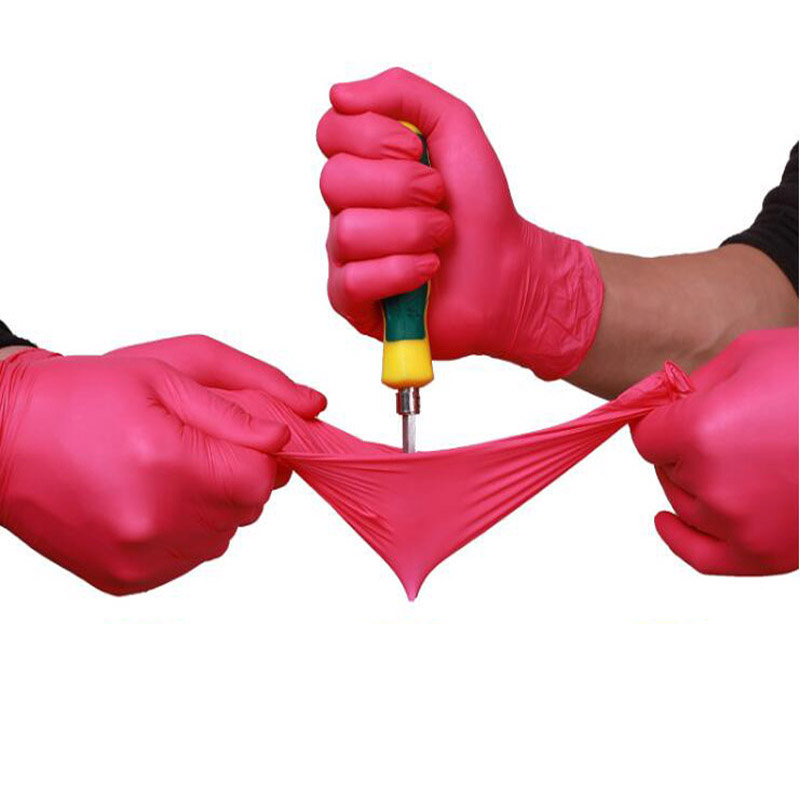 100pcs/lot  Gloves Disposable Latex  Rubber Medical Anti-virus Household Cleaning Experiment Catering Rose Red Gloves LS012