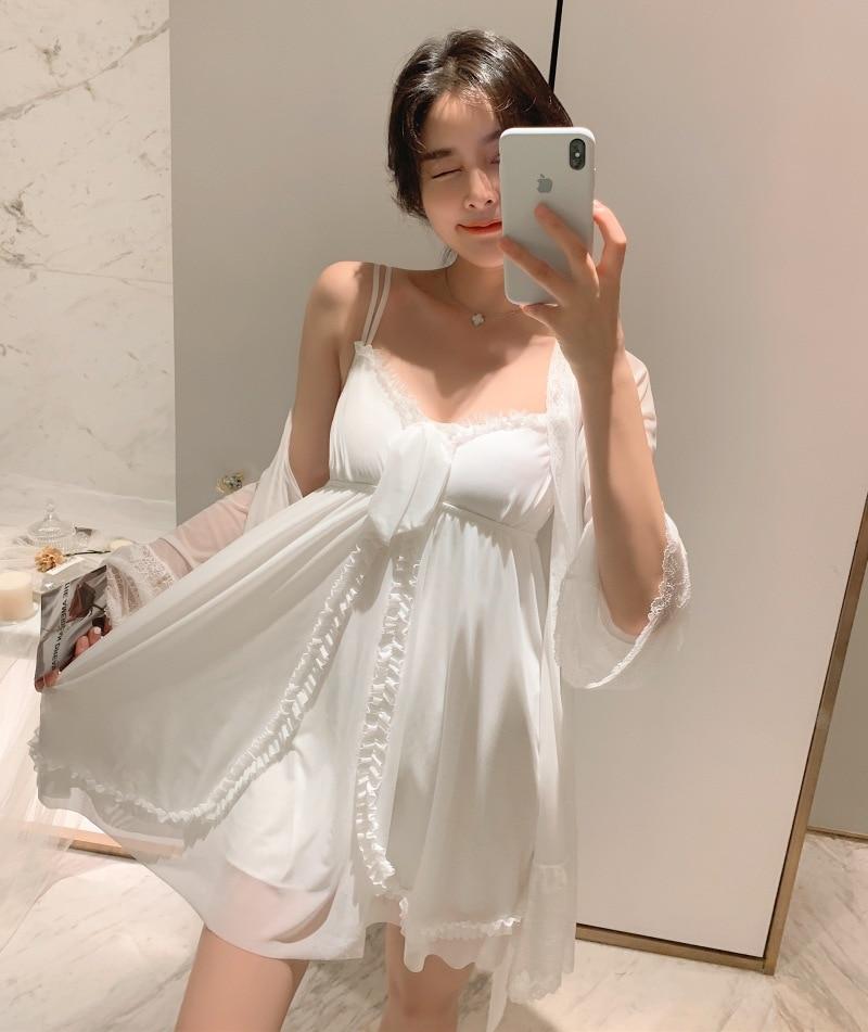 Sleepwear Retro Palace Goddess Nightgown Female Summer Lace Princess Gauze Sexy Halter Night Dress With Breast Pad пижама