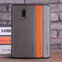 Para oneplus 6 caso capa de couro têxtil de luxo pele macia tpu duro pc capa traseira para oneplus 6 6t casos oneplus 6t telefone coque