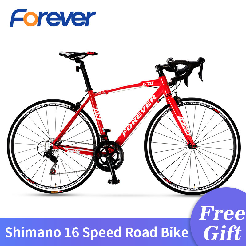 FOREVER 700C Road Bike Carbon Rode Bicycle Mountain Bike Dirt Bike With Aluminum Alloy Frame Racing Bike 16 Speed Velo De Route