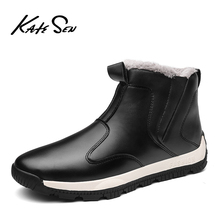 KATESEN New Plush keep Super Warm Men Boots Winter Rubber Snow England Retro ankle boots For Shoes