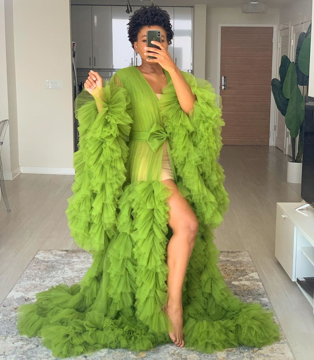 2020 Green Tulle Maternity Robes Women Sheer Long Maxi Photoshoot Fluffy Tiered Tulle Robe Formal Event Overlay Dress