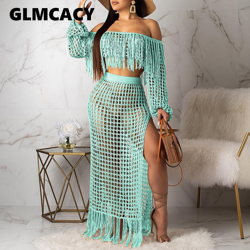 Women Summer Maxi Two Pieces Outfits Sexy Hollow Out Mesh Tassels Crop Tops & Maxi Skirts Sets Elegant Beachwear