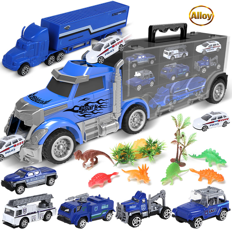 City Technical Diecast Container Transport Truck Model Engineering Fire Police Super Racing Car dinosaur Toys For Children Gifts