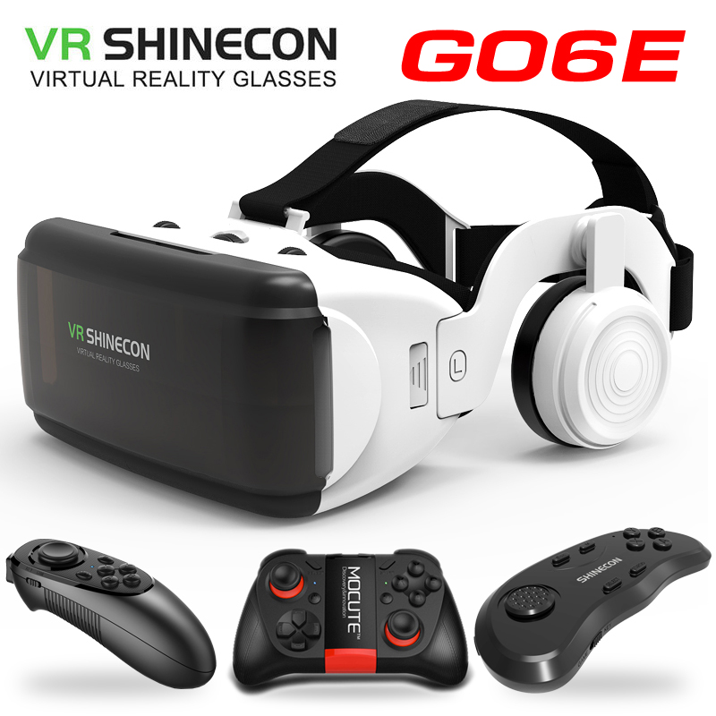 VR Shinecon Game lovers G06E 3D Glasses Video Movie for 4.7-6.53inches Helmet Cardboard Virtual Reality Smartphone 3D VR Glasses