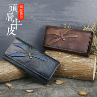 New head leather purse women's butterfly leather carved bag long wallet retro hand bag leather lady purse