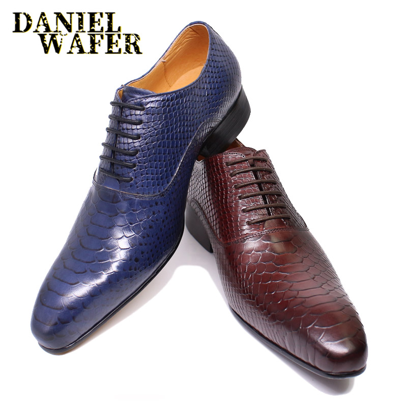 LUXURY MEN LEATHER SHOES SNAKE SKIN PRINTS MEN BUSINESS DRESS CLASSIC STYLE BURGUNDY BLUE POINTED TOE LACE UP OXFORD SHOES MEN
