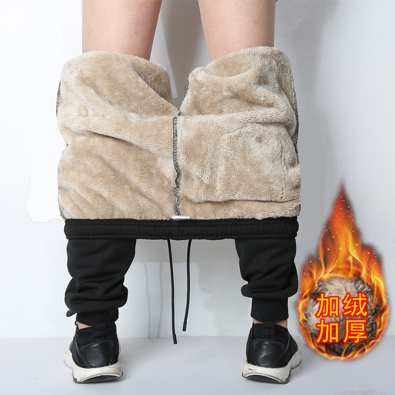 Autumn & Winter Knit Athletic Pants Men Casual Long Pants Winter Fleece Lining Ankle Banded Pants Spring And Autumn 2019 New Sty