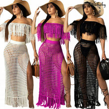 Women Casual Boat Neck Hollow Out Tassels Perspective High Slit Beach Dress 2pcs novelty one shoulder high slit hollow out dress for women