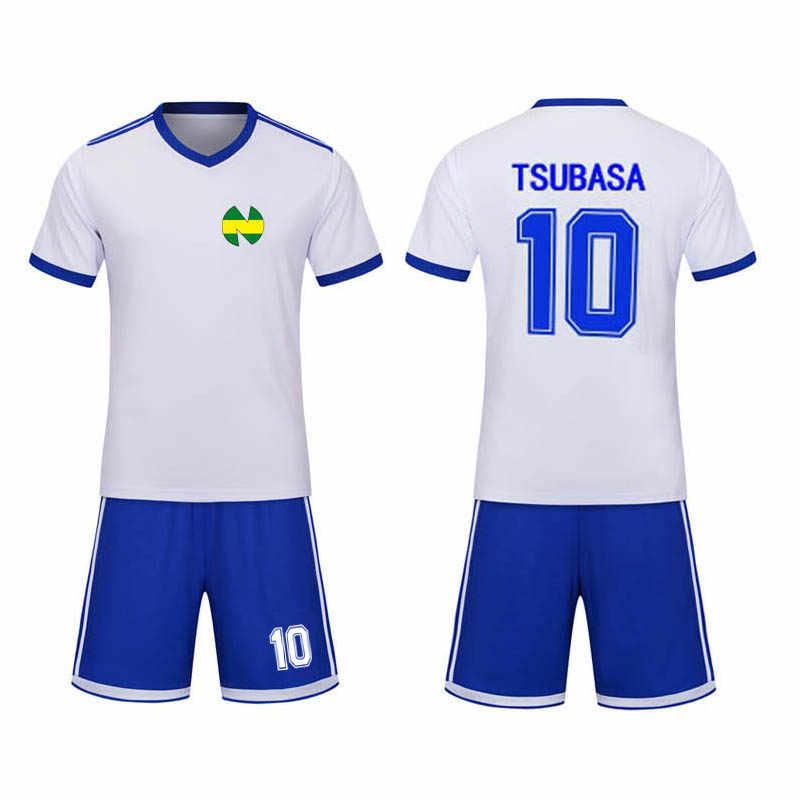 أنيمي الكابتن Tsubasa تأثيري حلي No.10 Ozora Tsubasa كرة القدم قميص مصنوع من الجيرسيه + السراويل دعوى الفانيلة هالوين للأطفال الكبار