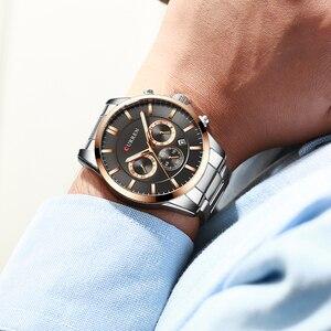 Image 5 - Reloj Hombres luksusowej marki CURREN kwarcowy z chronografem zegarki mężczyźni przyczynowy zegar pasek ze stali nierdzewnej Wrist Watch Auto data