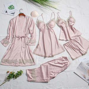 Image 2 - 2019 Silk Pajamas for Women Autumn Winter Pyjamas Satin Sleepwear V Neck Lace Nightwear 5 Piece Sets Pijama Chest Pads