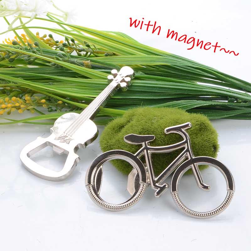 Stainless Steel Bottle Opener Korean Refrigerator Magnet Bicycle and Violin Shape Beer Opener Message Board Magnetic Sticker