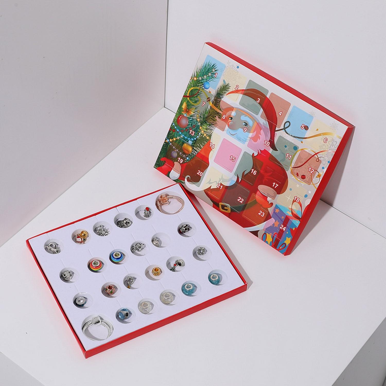 Cute Christmas Advent Countdown Calendar DIY 24 Days Charms Bracelet Beads Set Surprise Box For Kids Girls Christmas Xmas Gifts