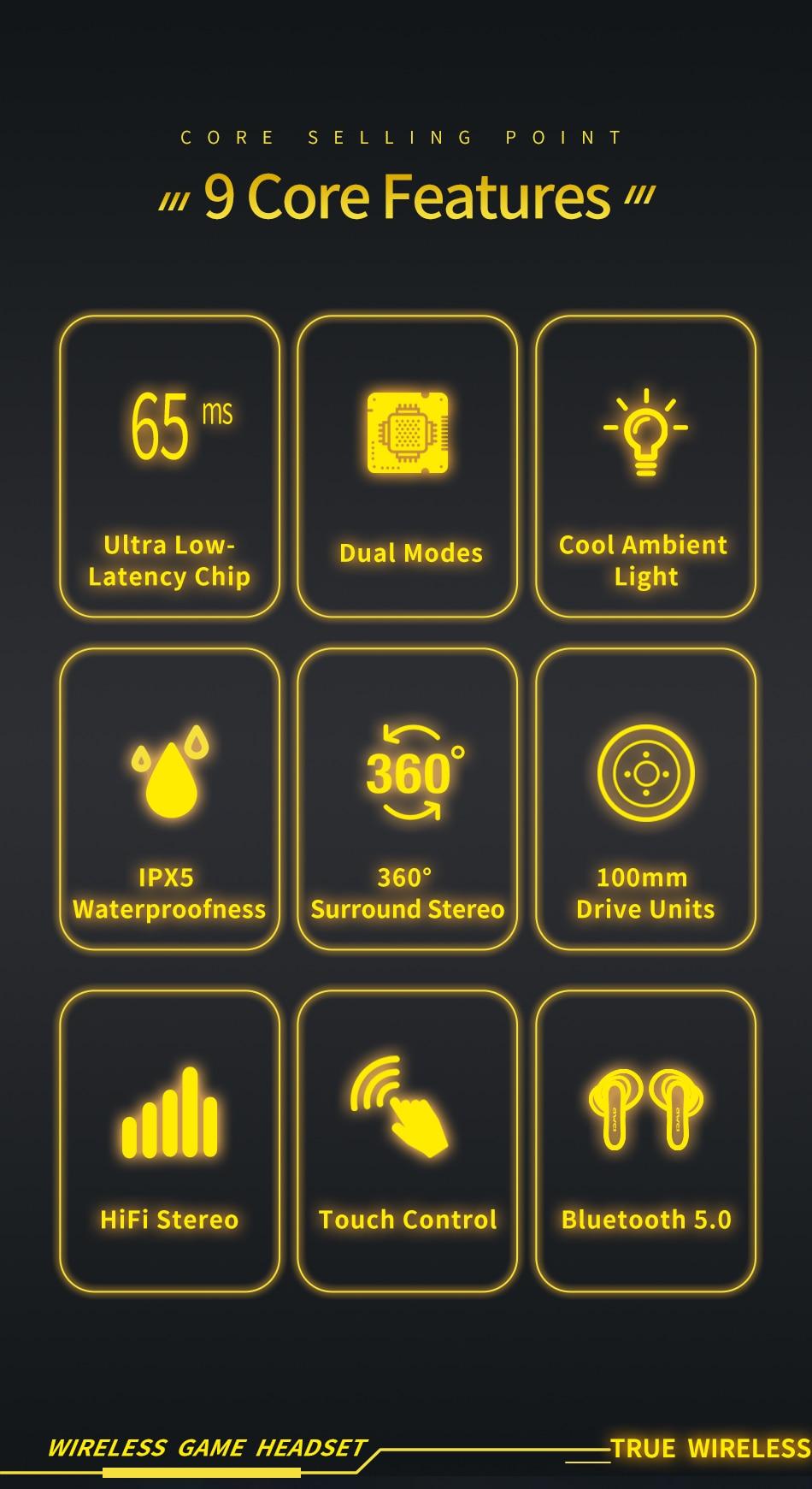 Gaming Earbuds 360° με Smart Touch In Ear - Ασύρματα Bluetooth Ακουστικά Handsfree IPX5 Μαύρο