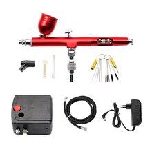 Mini Dual Action Airbrush Kit con Compressore Spazzola di Aria Pistola a Spruzzo Penna per Unghie Vernice Modeller Decorazione di Una Torta