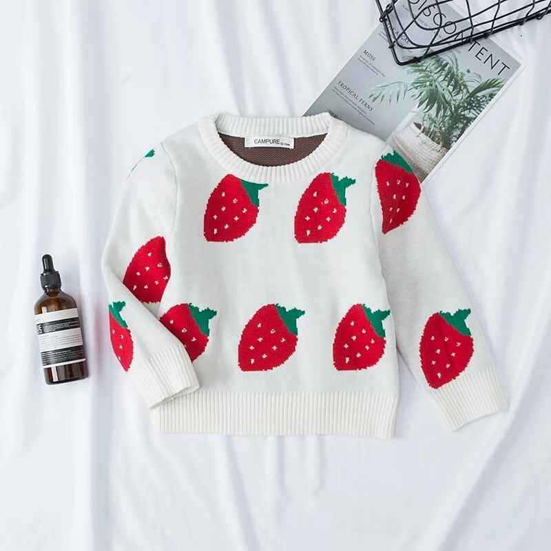 Winter Baby Boys Girls Strawberry Sweaters Toddlers Kids Clothing Red Cotton Infants Cute Knitting Pullovers with Hooded