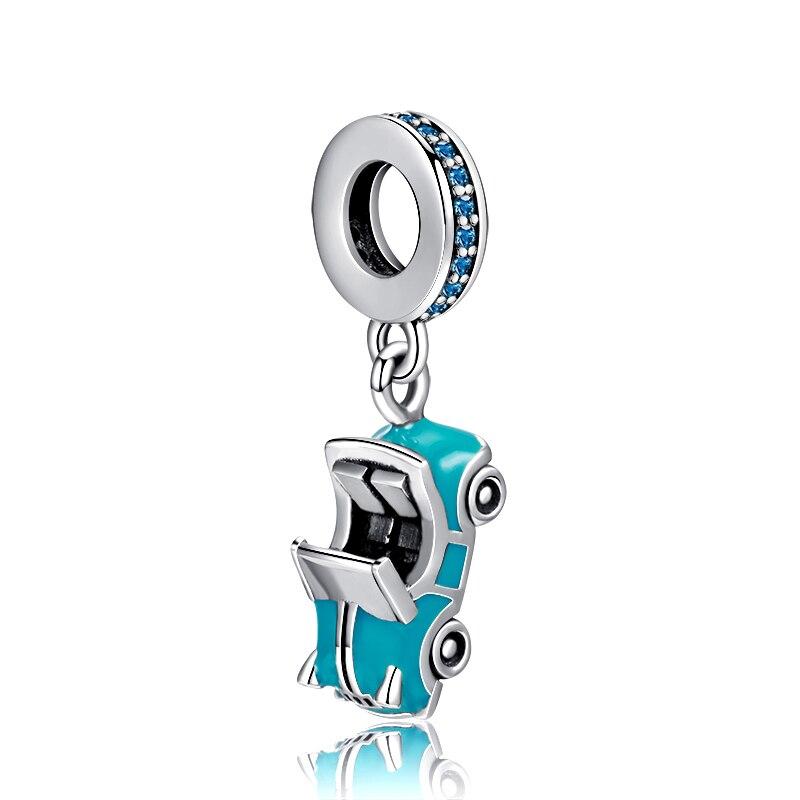 Authentique Argent Sterling 925 Perles Papillon Bleu Charme CZ Pendentif Pour Bracelet