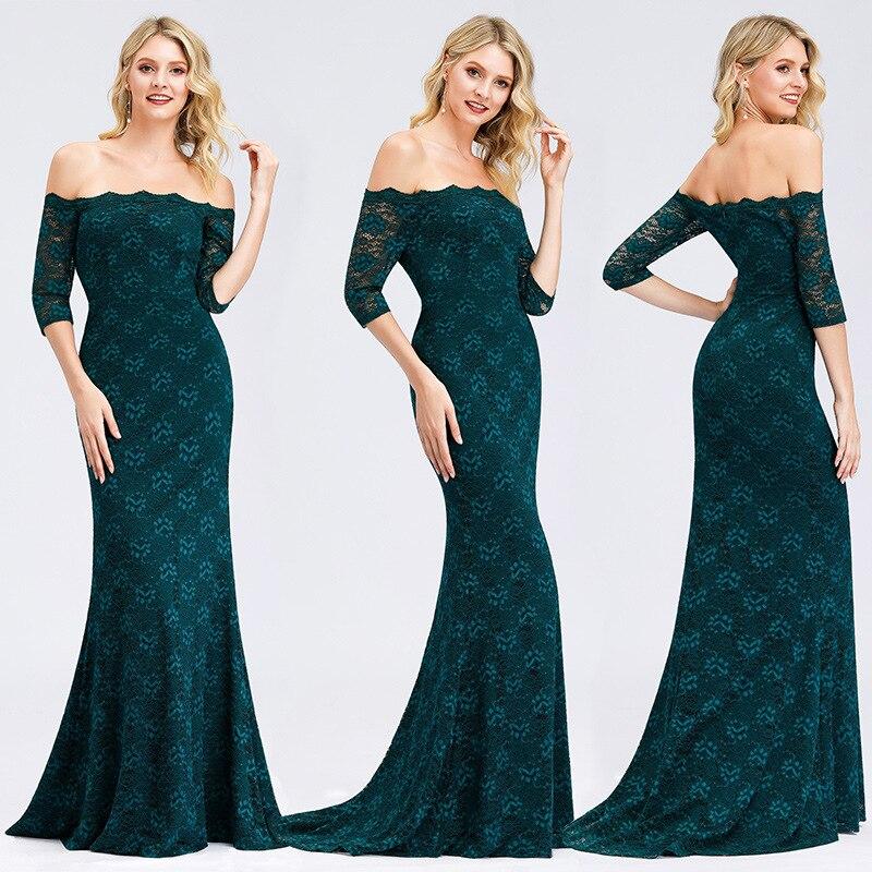 Evening Dresses Green Lace Formal Party Dresses R160 Boat Neck Robe De Soiree Off The Shoulder Elegant Women Banquet Vestidos