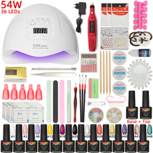 ESSFF Nail set 54W UV LED LAMP for Manicure Gel nail polish Set Kit Gel Varnish Electric Nail Drill Manicure Sets Nail Art Tools