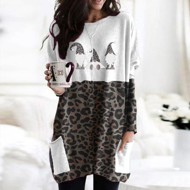 40# Plus Size Women Blouse Sexy Leopard Patchwork Loose Blouse Long Sleeve Christmas Printed O-neck Tops Tee Shirt Plus Size 4