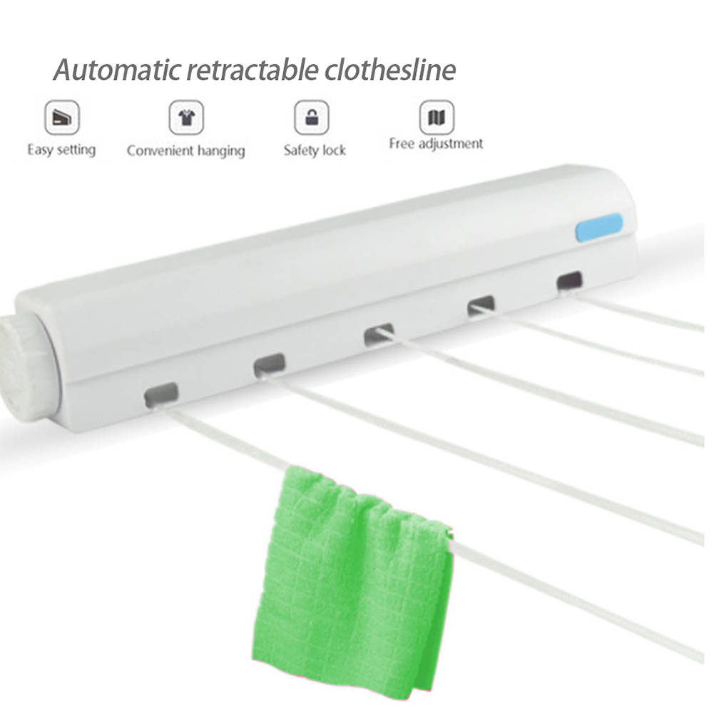 Wall Mounted Clothes Line Retractable Laundry Hanger Indoor Outdoor Clothes Drying Rack Retractable Clothesline Laundry Rope
